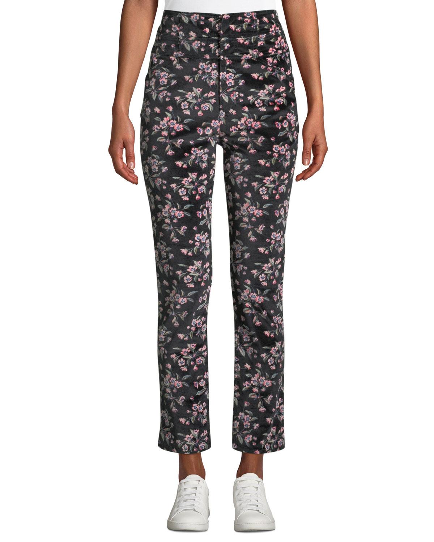 Tilda Floral-Print Velvet Skinny Ankle Pants, Black Pattern
