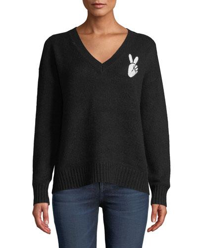 6c8276d558f5 White Ribbed V Neck Sweater
