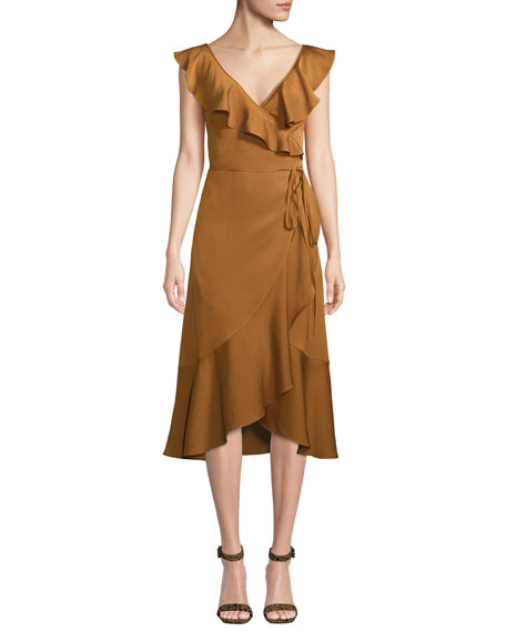 Fame and Partners Alexa Wrap Dress w/ Asymmetric Ruffle Hem