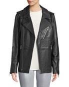 J Brand Eden Zip-Front Long Leather Moto Jacket