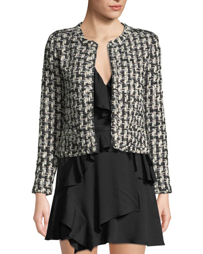 Gonna Pearl-Embellished Cropped Tweed Jacket