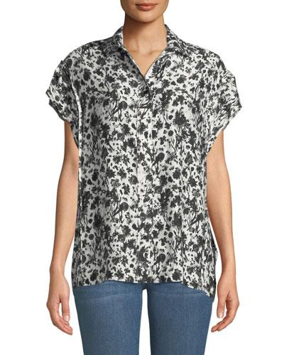 Tour Printed Short-Sleeve Button-Down Shirt