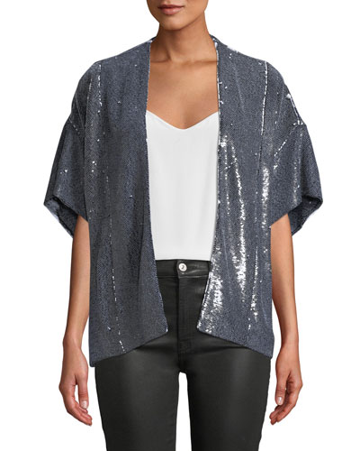 Zeliespe Sequined Short-Sleeve Jacket