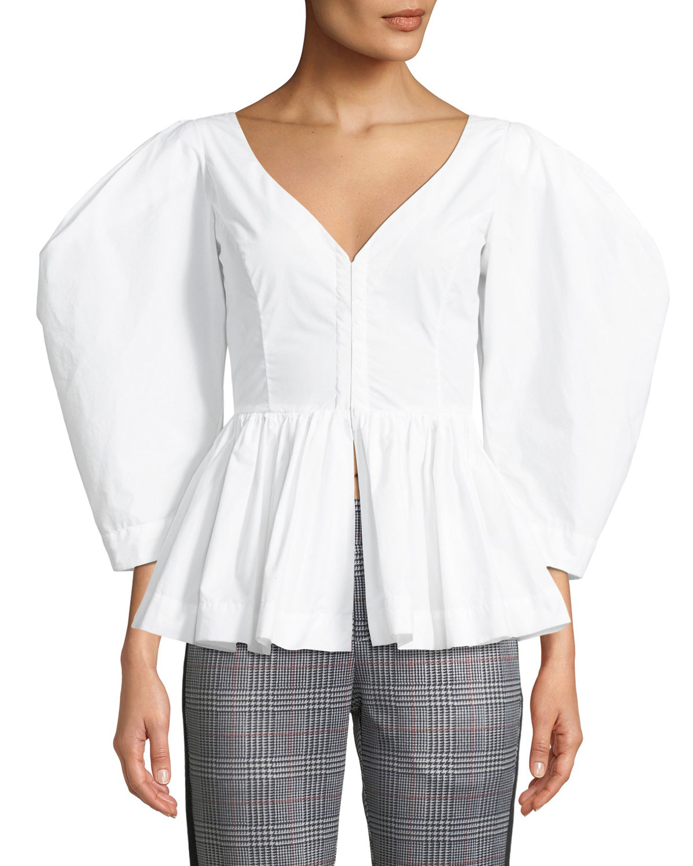 Vera V-Neck Full-Sleeve Cotton Peplum Top