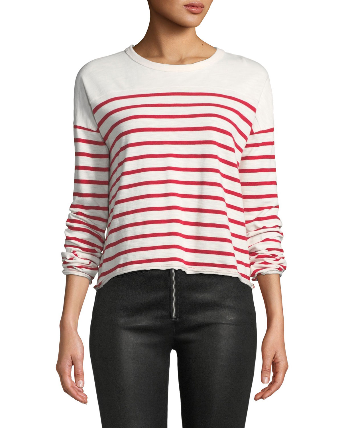 Rag And Bone White And Red Striped Halsey Long Sleeve T-Shirt, White/Red