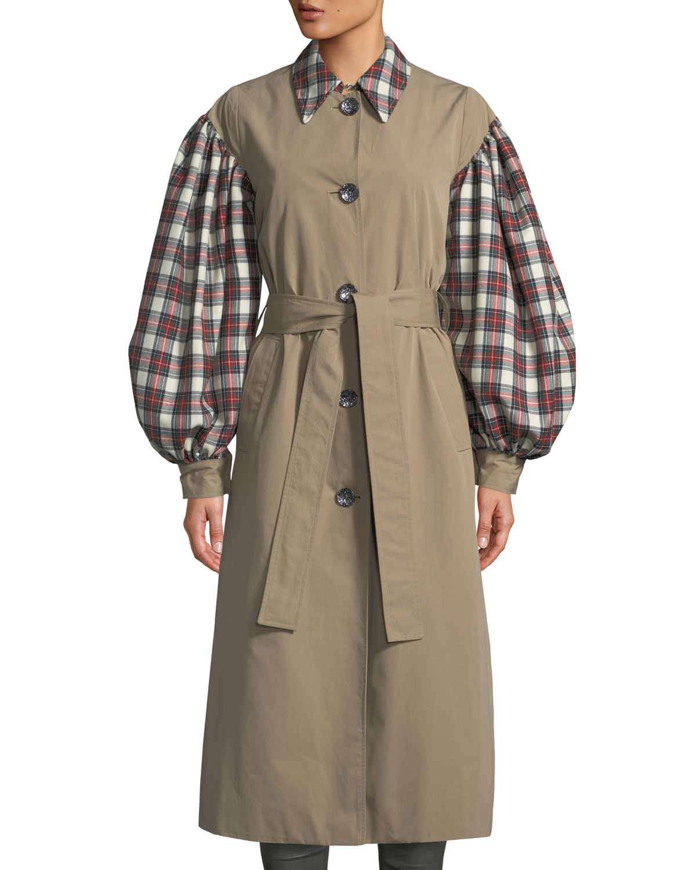 Olivia Blouson-Sleeve Check Trench Coat