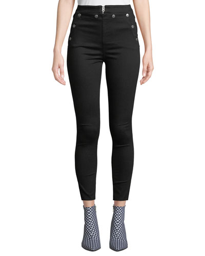 Penton High-Rise Skinny Jeans w/ Snaps & Lacing
