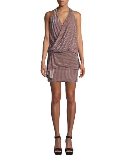 Valere Striped Velvet Draped-Front Halter Dress