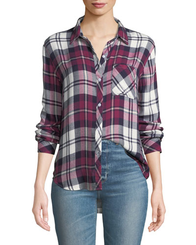 d7eaa225f2c818 Quick Look. Rails · Hunter Plaid Button-Front Long-Sleeve Shirt