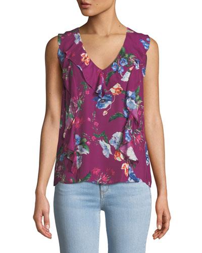 c6261f0866fcb8 Floral Print Ruffle Trim Top   Neiman Marcus