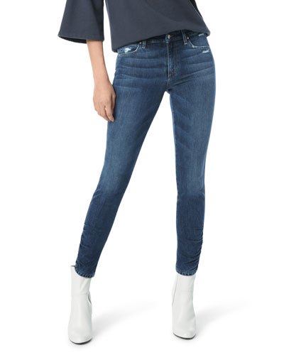 The Icon Skinny-Leg Ankle Jeans w/ Ruched Hem