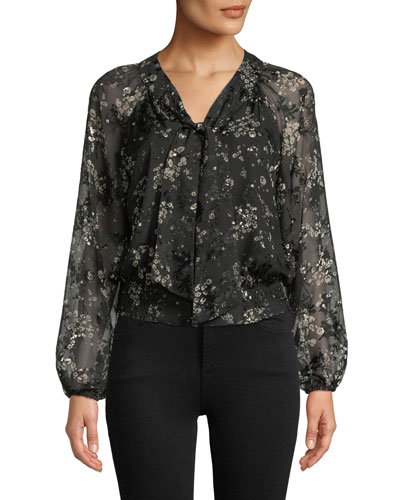 Penelope Smocked Floral Tie-Neck Blouse