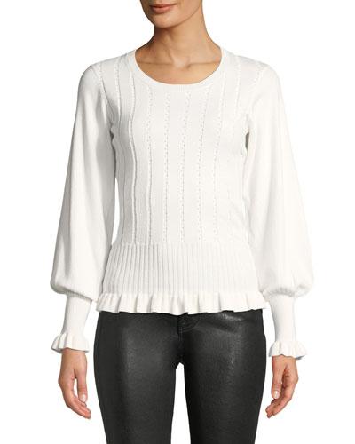 Henri Ribbed Bishop-Sleeve Sweater