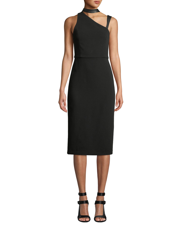 Alice + Olivia Jona Leather-Trim Asymmetric Sheath Dress, Black