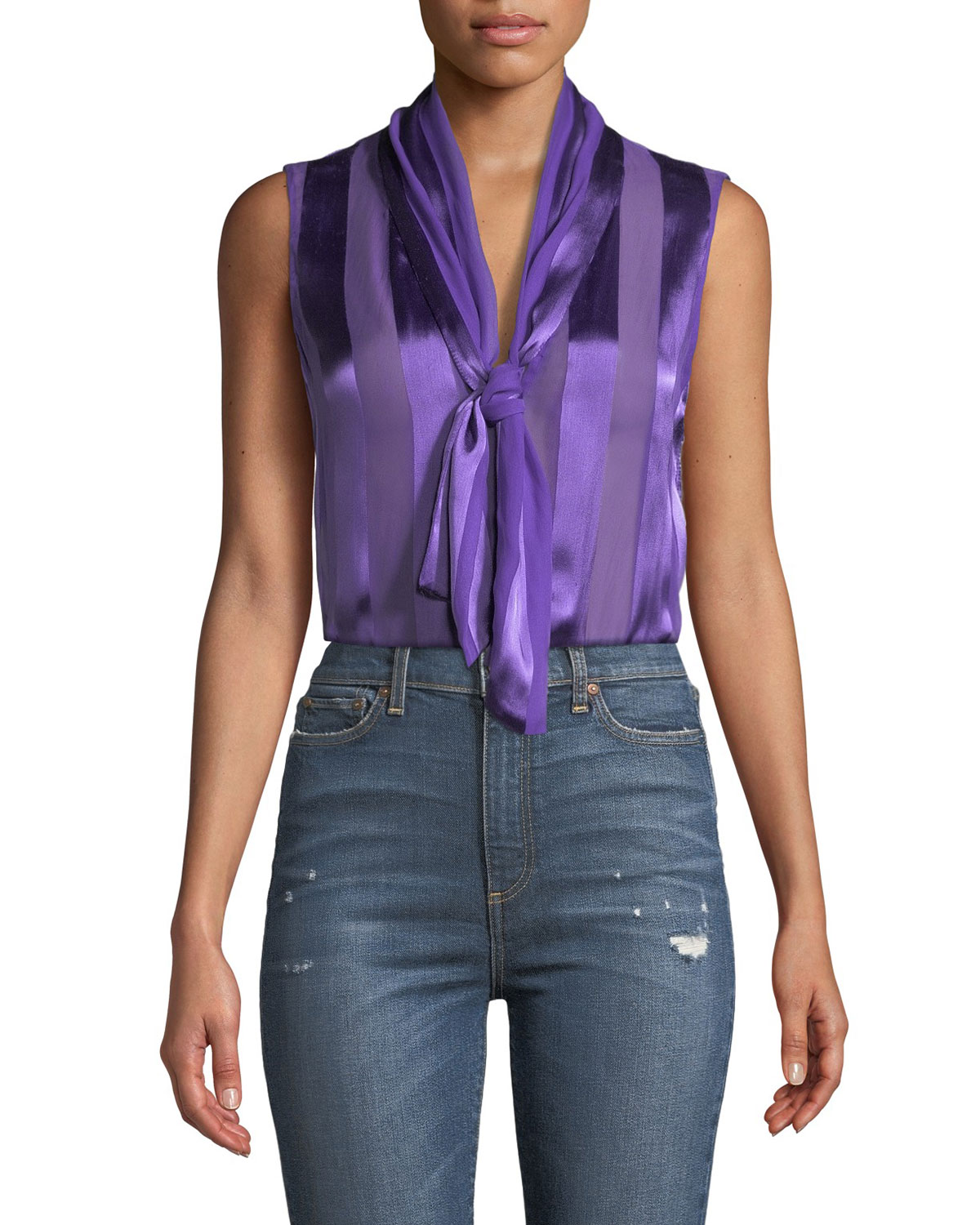 Gwenda Sleeveless Paneled Tie-Neck Tunic Blouse