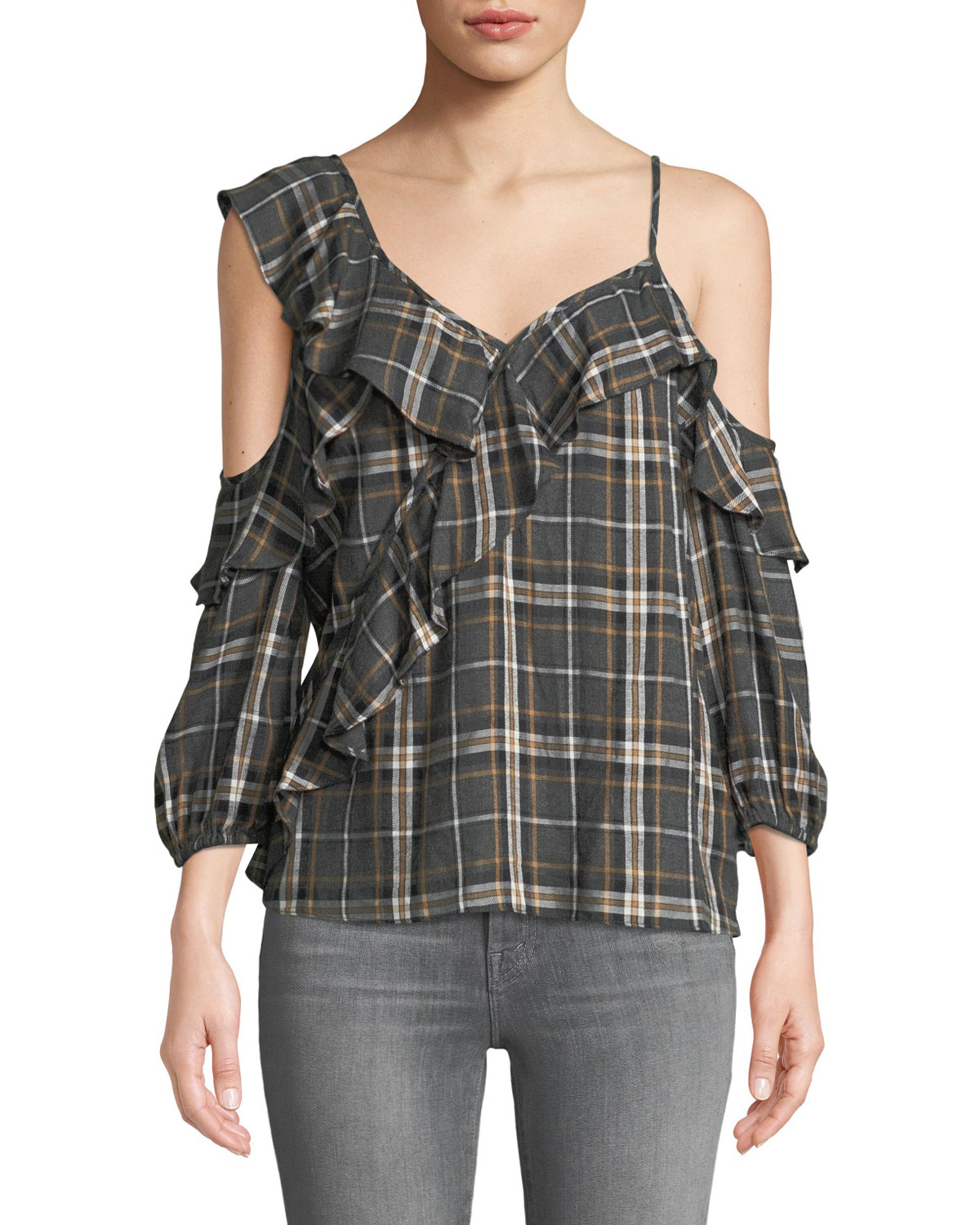 Cross Country Plaid Ruffle Cold-Shoulder Top in Anthracite