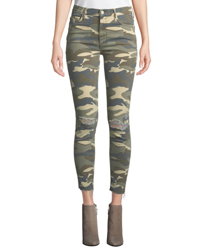 The Looker High-Waist Frayed Camo-Print Skinny Jeans