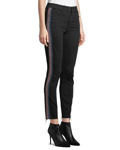Looker High-Waist Ankle Fray Skinny Jeans w/ Racing Stripes