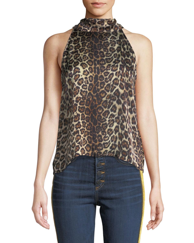 Kaylee Satin Animal-Print Tie-Neck Top