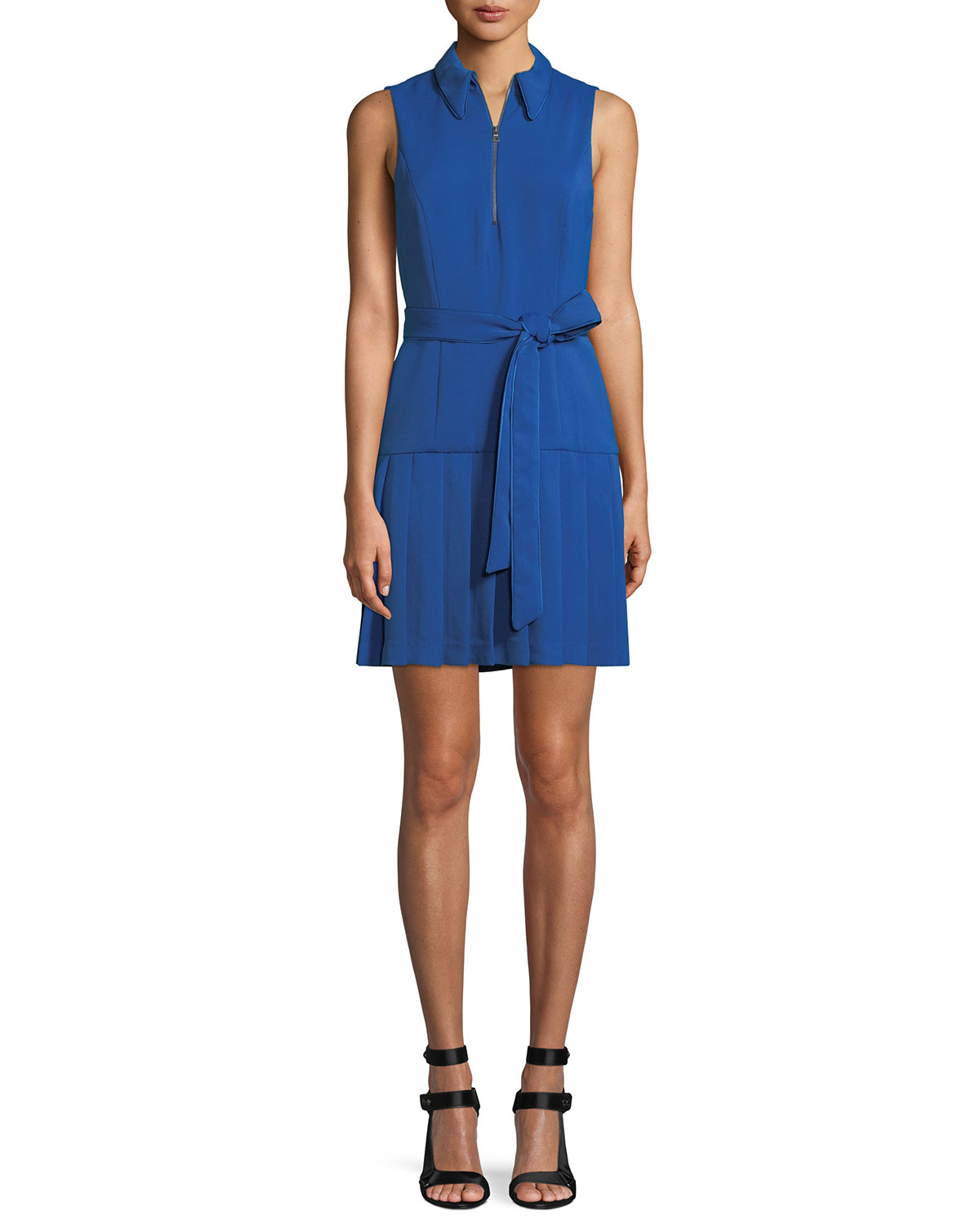 Zip-Front Sleeveless Pleated Shirtdress