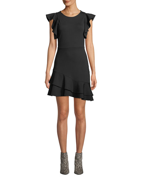 Rebecca Minkoff Saphira Linen-Blend Flounce Dress