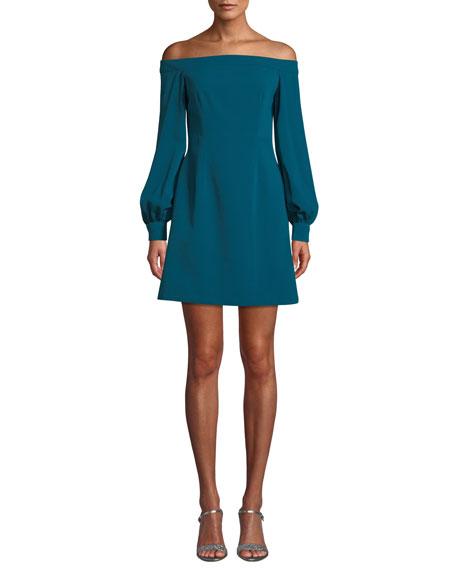 Jill Jill Stuart Crepe Off-the-Shoulder Long-Sleeve Dress