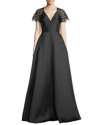 Quick Look. ML Monique Lhuillier · V-Neck Ball Gown w  Lace Sleeves.  Available in Black 6c76e1a4f