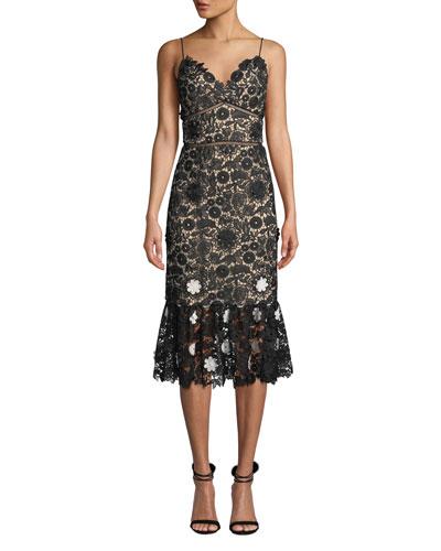 Sleeveless Lace Dress w/ 3D Floral Details