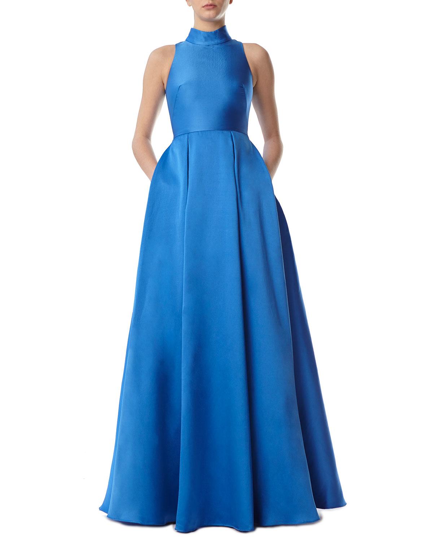 Ball Gown Dress w/ High Collar & Pockets