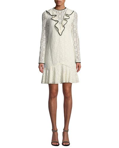 Long-Sleeve Lace Dress w/ Ruffle Front