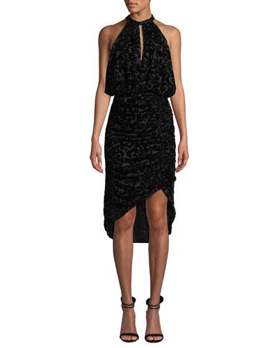 Velvet Burnout Halter Dress w/ Ruching