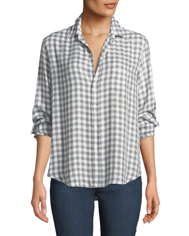 Eileen Long-Sleeve Button-Front Gingham Check Modal Shirt