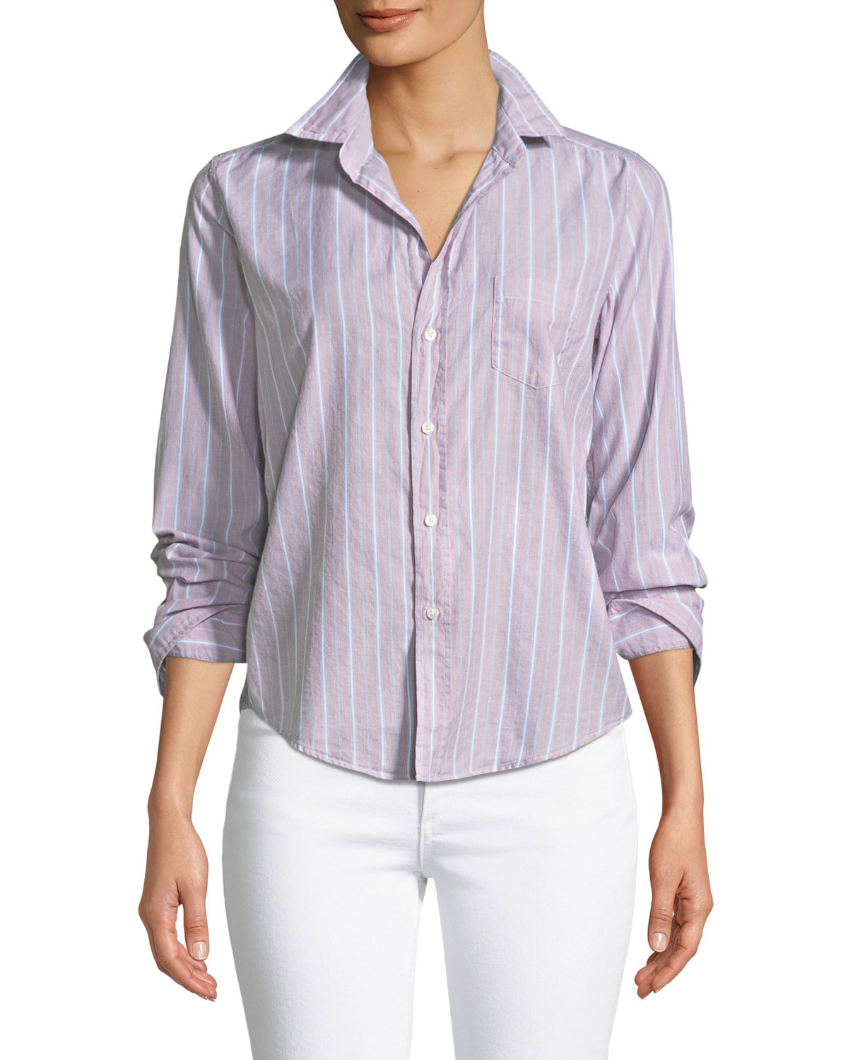 Barry Striped Button-Front Cotton Shirt