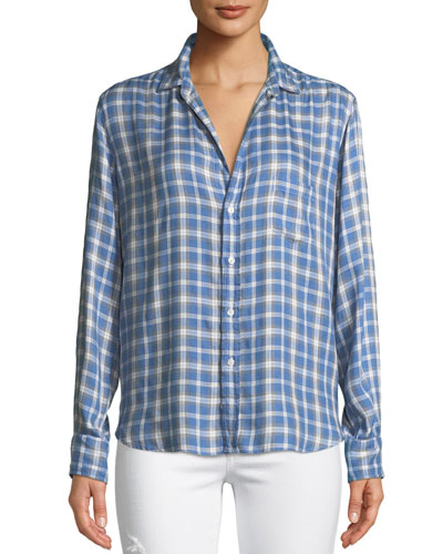 Eileen Long-Sleeve Button-Front Check-Print Modal Shirt