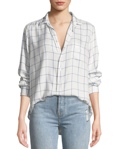 Eileen Long-Sleeve Button-Front Windowpane Check-Print Modal Shirt