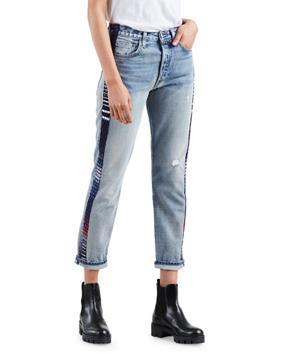 501 Cropped Skinny Jeans with Side Panels