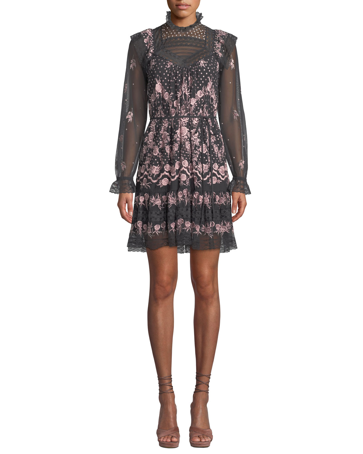 Eclipse High-Neck Embroidered Tulle Mini Dress