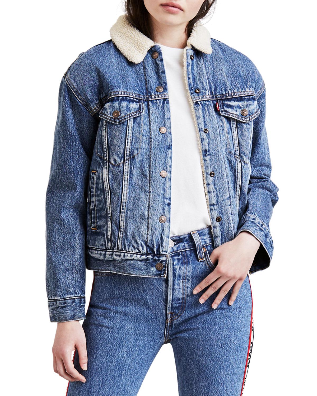 Ex-Boyfriend Denim Trucker Jacket W/ Faux-Fur Lining in Blue