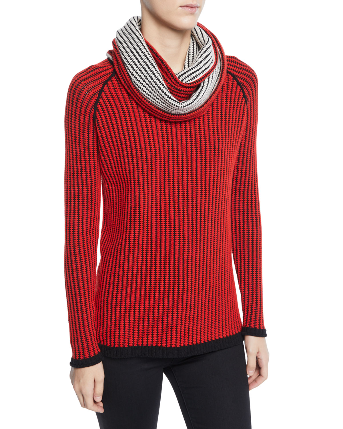 Chain Stitch Cashmere Sweater With Scarf, Red
