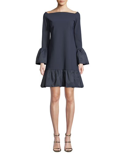 Maldina Bell-Sleeve Ruffle Dress