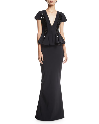 Feliciana Sequin & Peplum Gown