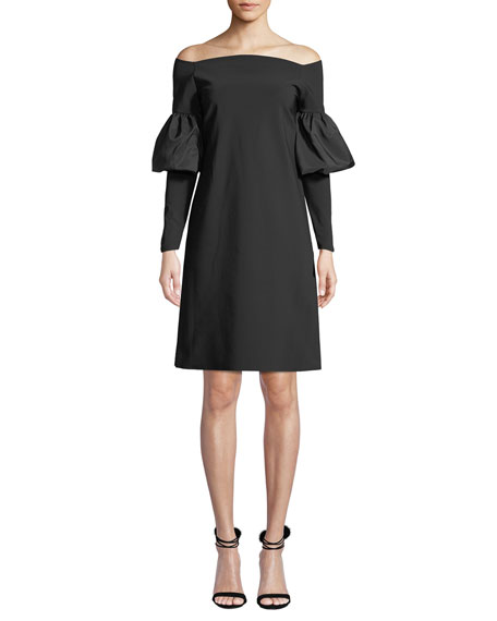 Chiara Boni La Petite Robe Zose Taffeta Balloon-Sleeve Dress
