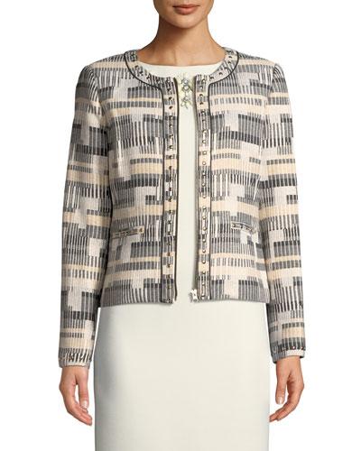 Zip-Up Studded Long-Sleeve Jacket