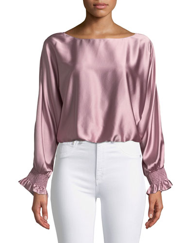 Adena Boat-Neck Silk Split-Sleeve Top
