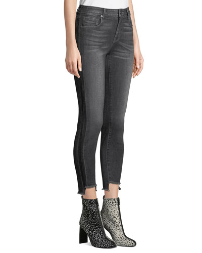 Twisted-Seam Cropped Skinny Jeans with Raw-Edge Step-Hem