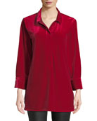 Joan Vass Petite 3/4-Sleeve Side-Slit Relaxed Velvet Tunic
