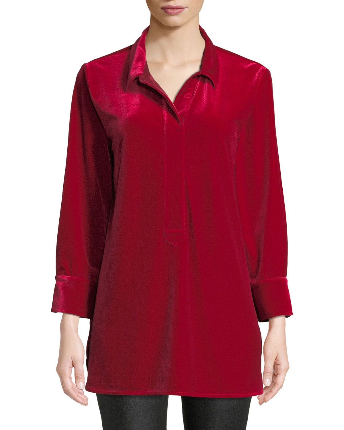 3/4-Sleeve Side-Slit Relaxed Velvet Tunic Shirt, Petite
