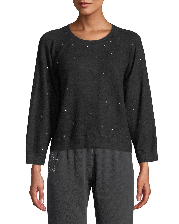 MONROW Vintage Raglan Pullover Sweater With Rhinestones in Black