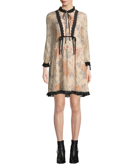 Coach Rose-Print Long-Sleeve Silk Short Dress