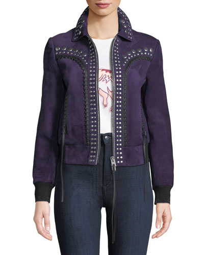 Bandana Studded Zip-Front Suede Jacket